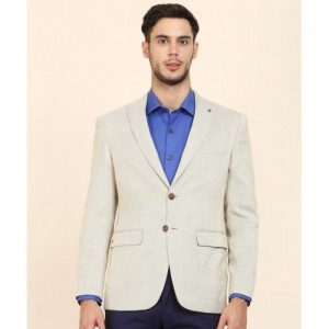Louis Philippe Self Design Single Breasted Formal Men's Blazer(Beige)