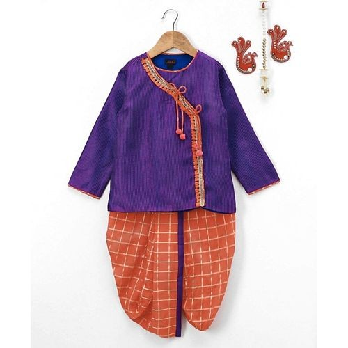 Pspeaches Full Sleeves Angrakha With Dhoti - Purple & Orange