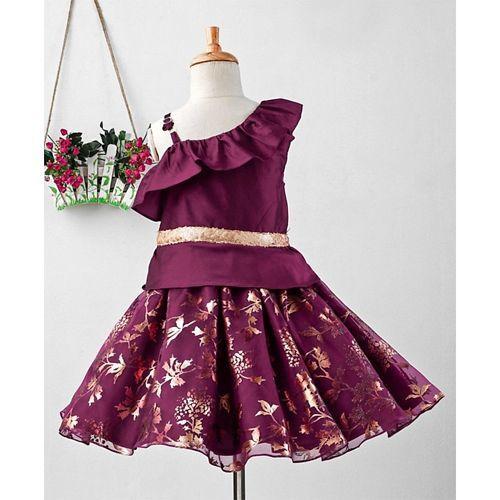 Pspeaches Leaves Foil Print Sleeveless Dress - Violet