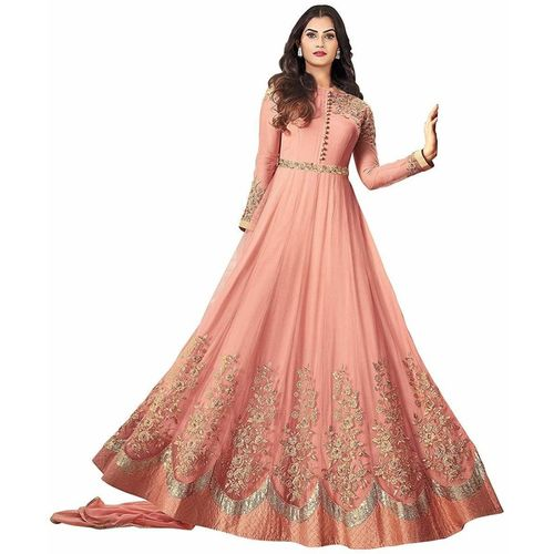 Royal Export Pink Embroidered Lace Work Party Wear Gown