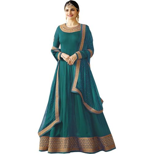 Fashion Basket Teal Blue Cotton Silk Lace Work Party Wear Gown