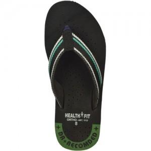 fafbd5bef HealthFit Men's Rubber Diabetic & Orthopedic Footwear (Black) Flip Flops