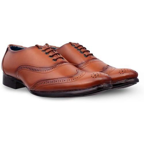Shoe Island Premium Class Designer Tan Brown Leatherette Brogues Formal Brogues For Men(Tan)