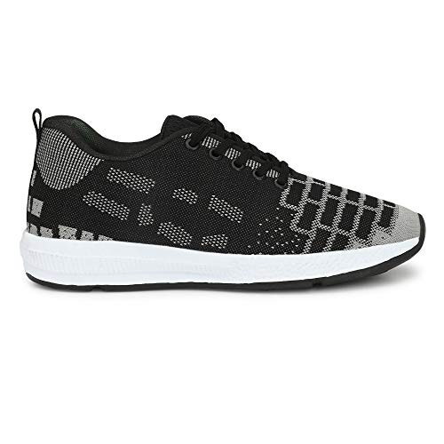 Seabert Black & Grey Flow Sports Running Shoes for Men