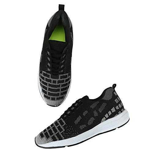 Seabert Black & Grey Flow Sports Running Shoes for Men