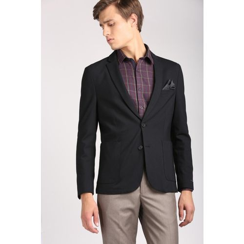 Peter England Solid Single Breasted Casual Men Blazer(Black)