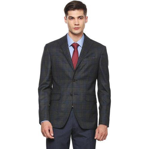 Peter England Checkered Single Breasted Formal Men Blazer(Grey)