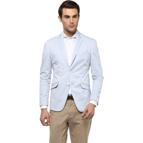 Peter England Solid Single Breasted Formal Men Blazer(Blue)