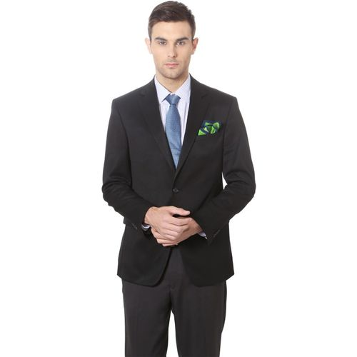 Peter England Solid Single Breasted Formal Men Blazer(Black)
