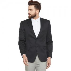 Canary London Solid Single Breasted Formal Men Blazer(Black)
