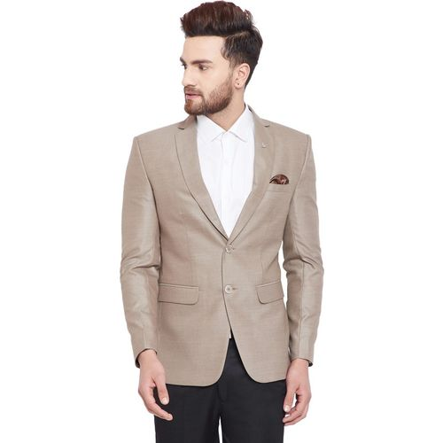 Canary London Self Design Single Breasted Formal Men Blazer(Beige)