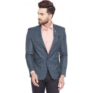 Canary London Checkered Single Breasted Formal Men Blazer(Dark Blue)