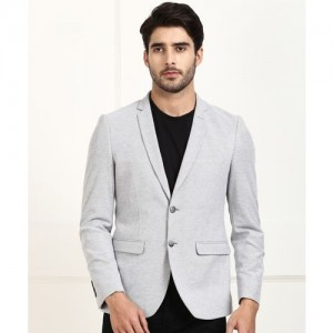 Louis Philippe Sport Self Design Single Breasted Casual Men's Blazer(Grey)