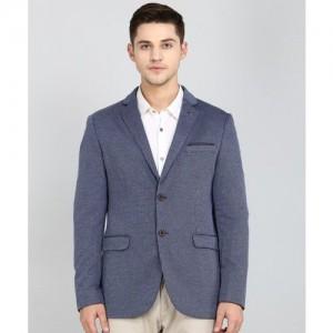 Arrow Self Design Tuxedo Style Formal Men's Blazer(Blue)