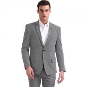 Arrow Self Design Single Breasted Formal Men Blazer(Grey)