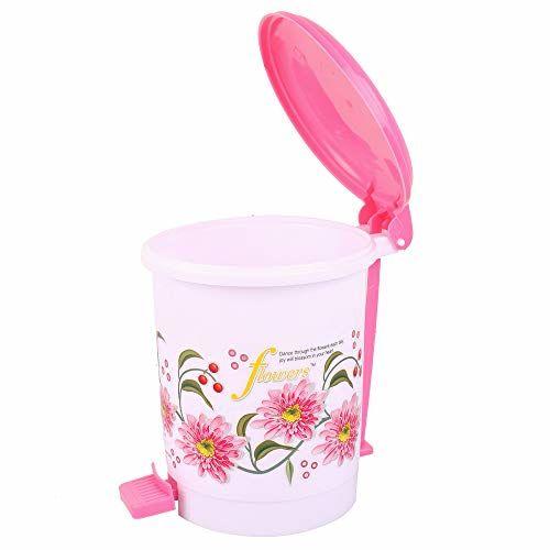 Kuber Industries Exclusive Virgin Plastic Dustbin/Garbage Bin (Pink) Set of 6 Pcs-KESH340