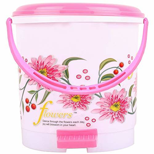 Kuber Industries Floral 2 Piece Plastic Dustbin Set, 5 litres, Blue and Pink