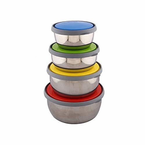 Kuber Industries Trueware Stainless Steel 4 Pieces Bowl Set with Plastic Lids (Multi)-CTKTC3584,