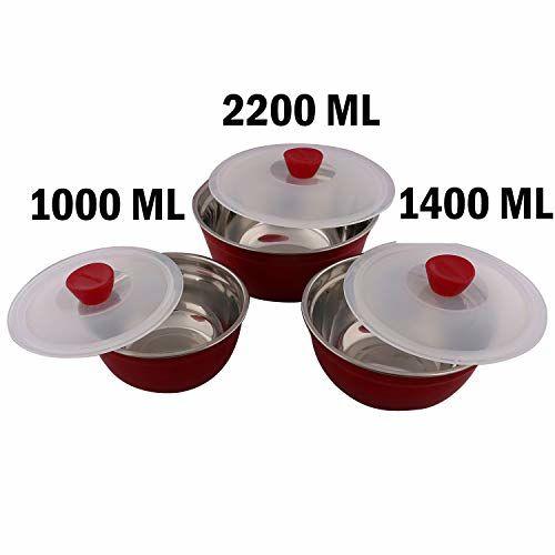 Kuber Industries Trueware Stainless Steel 3 Pieces Bowls Set (Maroon)-CTKTC3585,Elegant
