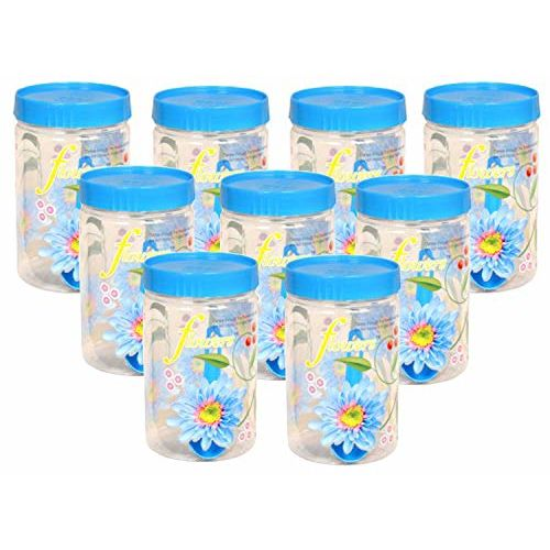 Kuber Industries 9 Piece Plastic Container Set, 1100ml, Blue
