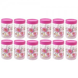 Kuber Industries 12 Piece Plastic Container Set, 500ml, Pink