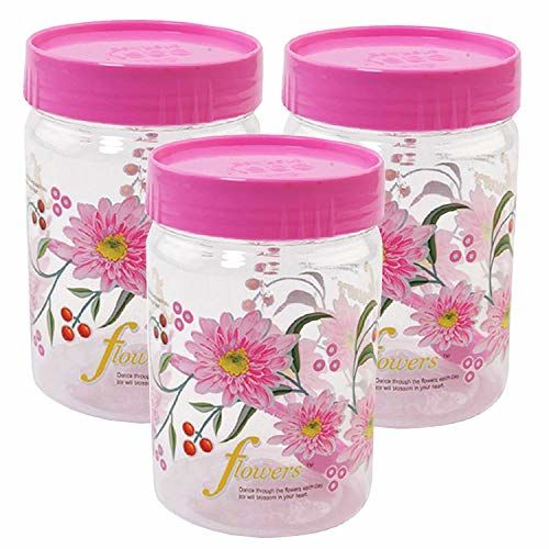 Kuber Industries 3 Piece Plastic Container Set, 500ml, Pink