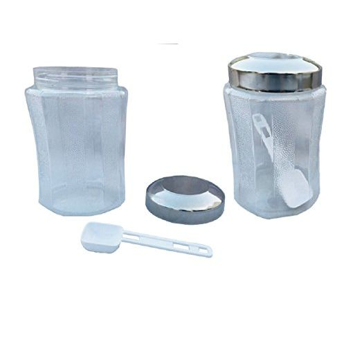 Keshav Industries Designer Containers Set of 2 Pcs with Steel Lid and Spoons, for Kitchen Storage Box, Kitchen Plastic Box, Canister Set for Multipurpose Use