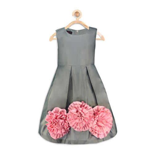 pspeaches Girls Grey Fit & Flare Dress
