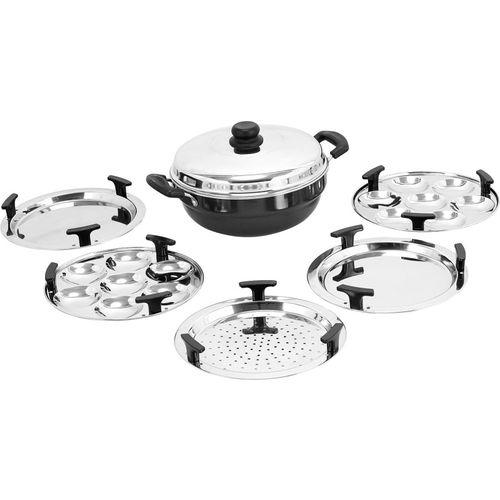 Vinod Cookware Hard Anodised Induction Base Multi-Kadai For Idli and Dhokala Induction Idli Maker(5 Plates , 14 Idlis )
