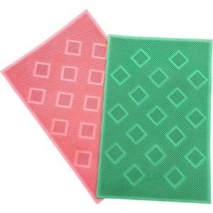 Shreejee Rubber Door Mat(Green, Pink, Medium)