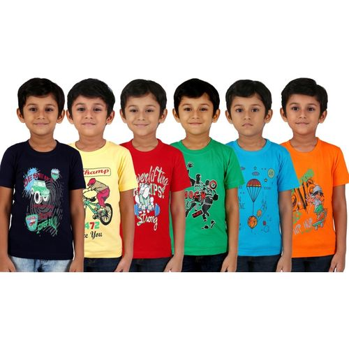 Kiddeo Multicolour Cotton Printed  Boys Casual T-Shirt(Multicolor, Pack of 6)