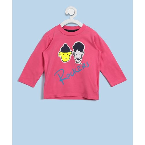 United Colors of Benetton Boys Printed Cotton T Shirt(Pink, Pack of 1)
