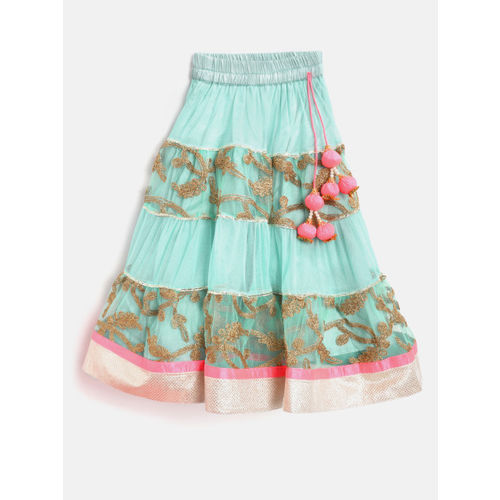 pspeaches Girls Turquoise Blue & Green Printed Ready to Wear Lehenga & Blouse with Dupatta