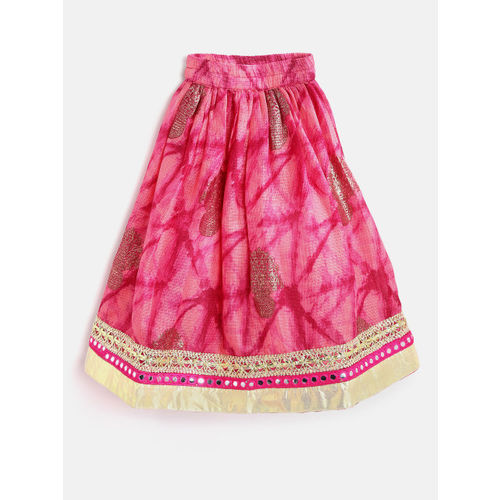 pspeaches Girls Pink & Beige Printed Ready to Wear Lehenga & Blouse with Dupatta