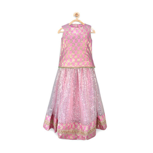 pspeaches Girls Pink Embellished Lehenga Choli with Dupatta