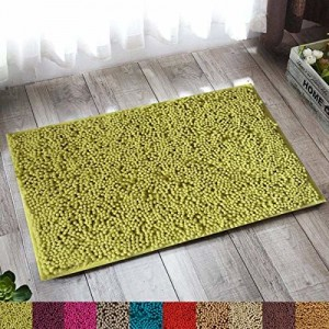 Lushomes Chenille Olive Green Thick and Fluffy 2200 GSM bathmat with High Pile Microfiber with Synthetic Backing, Super Absorbent (20