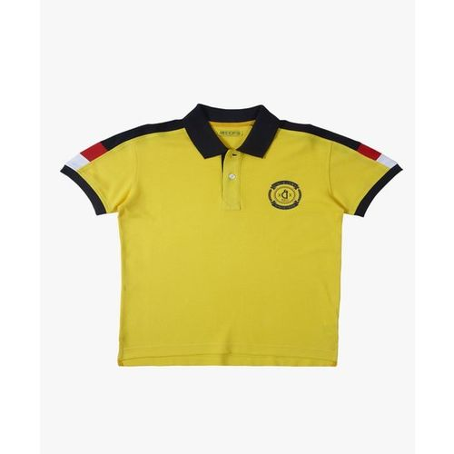 Gini & Jony Kids Yellow Solid Polo T-Shirt