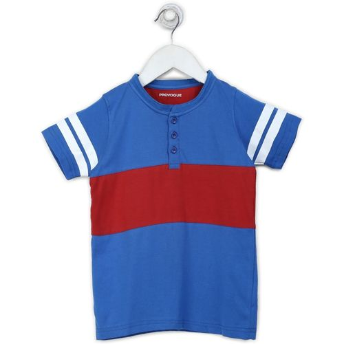 Provogue Boys Solid Cotton T Shirt(Blue, Pack of 1)