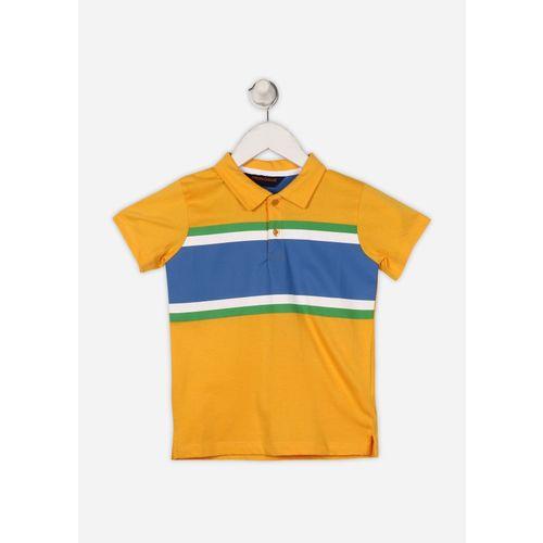 Provogue Boy's Striped Cotton T Shirt(Yellow, Pack of 1)