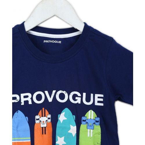 Provogue Blue Cotton Boys Printed T-Shirt