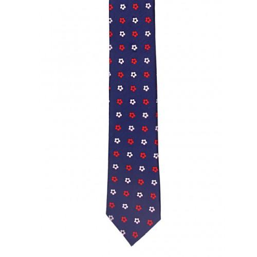 Tossido Blue Woven Design Skinny Tie
