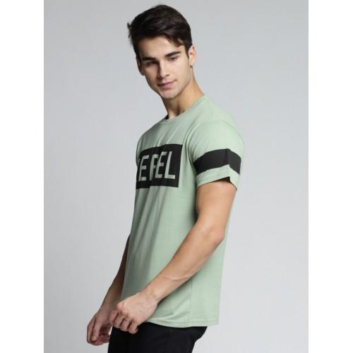 DILLINGER Green & Black Cotton Printed Round Neck T-shirt