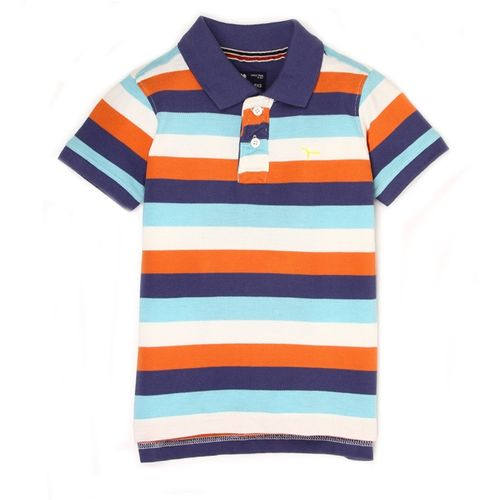 Flying Machine Boys Striped Cotton T Shirt(Blue, Pack of 1)