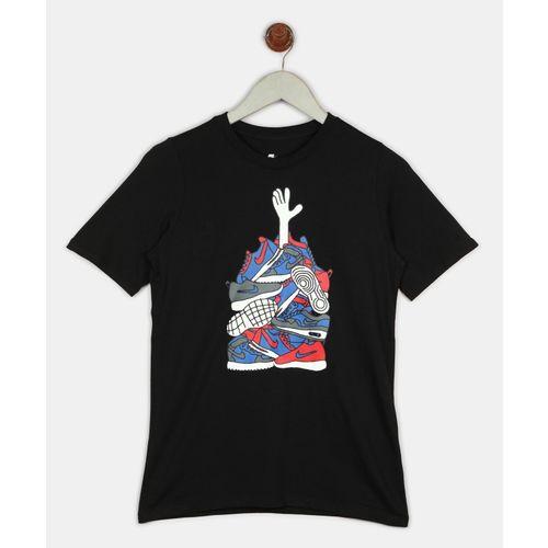 Nike Boys Graphic Print Cotton T Shirt(Black, Pack of 1)