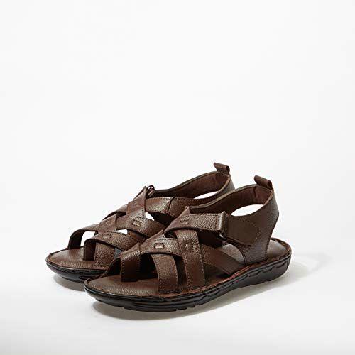 Burwood Men's Brown Leather Casual Sandals-9 UK/India (43 EU)(BW 05)