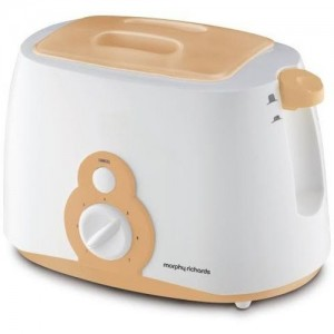 Morphy Richards AT-202 800 W Pop Up Toaster(White, Orange)