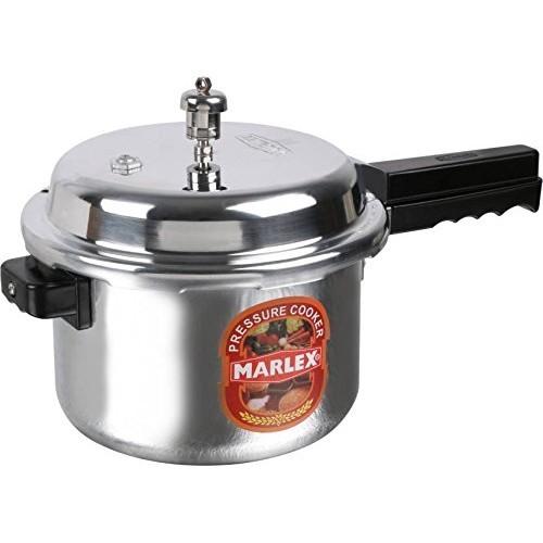 Marlex Regular Premium Outer Lid Aluminium Pressure Cooker, 7.5 litres, Silver