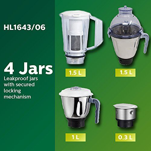 Philips Simple Silent Vertical HL1643 600-Watt Mixer Grinder with 5 Jars (Blue)