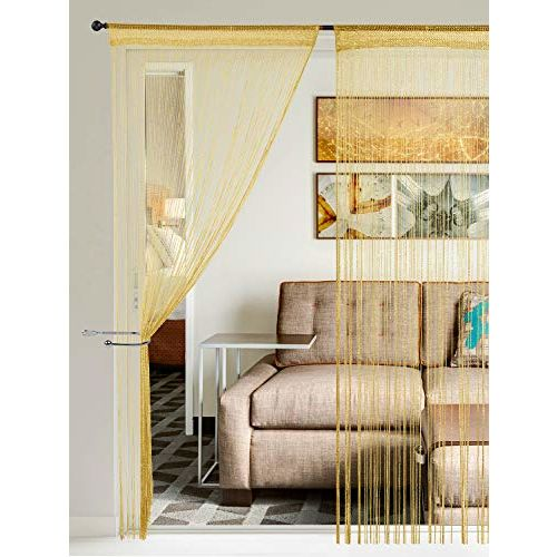Story@Home Fancy SparklingString Beads Polyester Hanging Curtain - 7ft, Golden