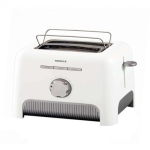 Havells Precise 870-Watt Stainless Steel Pop-up Toaster (White)